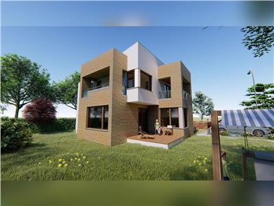 Casa moderna P+1 120mp utili + balcoane, 500 mp teren